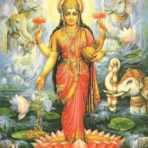 Богиня Лакшми (индийский рисунок)