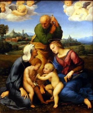 Рафаэль Санти. Святое Семейство Каниджани или Святое семейство со Св. Елизаветой и Иоанном Крестителем (1507-1508, Старая пинакотека, Мюнхен)