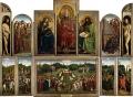 """Гентский алтарь """"Поклонение Агнцу"""" с открытыми створками.  Хуберт и Ян ван Эйк. 1432. Собор Святого Бавона, Гент."""