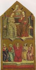 """""""Христос и Мария на троне и пять святых"""". Умбрийский художник.14 век."""