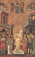 "Икона ""Покров Богоматери.Роман Сладкопевец"",1649г."