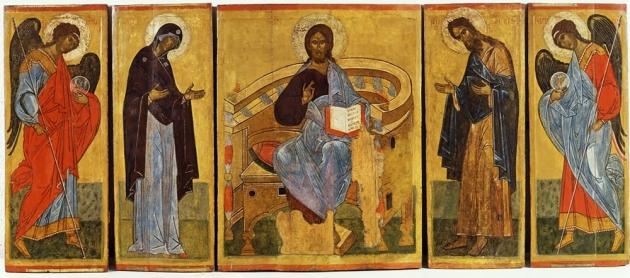 """Икона """"Деисусов Чин"""".Конец ХV – начало XVI века."""