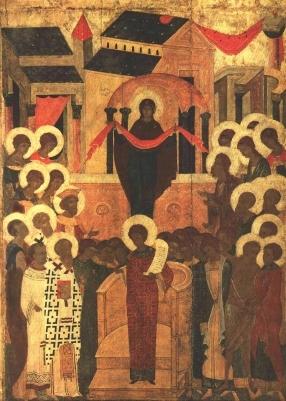 """Икона """"Покров Богоматери"""", конец XV в., Суздаль."""