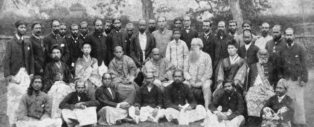 Генри Стилл Олькотт среди буддистов Цейлона 1889 г.