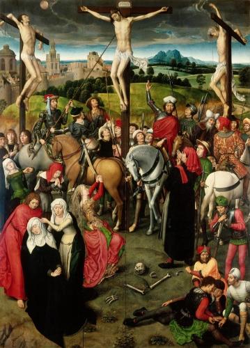 """Ханс Мемлинг, 1491, алтарь """"Страсти Христовы"""", центральная часть - """"Распятие"""""""