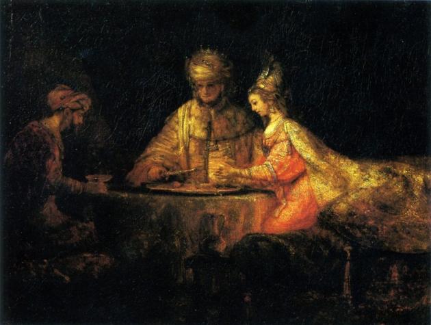 Картина 'Артаксеркс, Аман и Эсфирь', Рембрандт