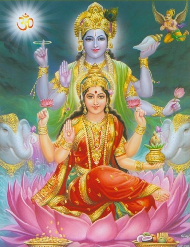 Goddes Lakshmi and Vishnu