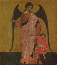 """""""Ангел Рафаил и Товий"""". Далматский художник. 14 век."""