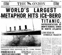 Газета с объявлением 'о гибели Титаника в 'символической трагедии'